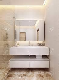moderne sink konsole in der farbe weiß mit einem regal minimalism stil und design moderne badezimmer 3d übertragen
