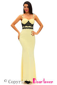 lace detail yellow long prom party maxi dress