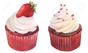 süßen roten aquarell kleine kuchen mit erdbeeren