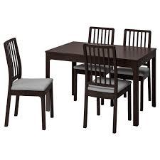 ekedalen ekedalen tisch und 4 stühle dunkelbraun orrsta hellgrau 120 180 cm
