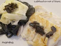 pates encre de seiche pavé de cabillaud aux olives et pâtes à l encre de seiche