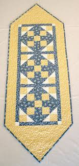 Brighten Up Your Spring Summer Table With This Cute Yellow And Blue Quilted Runner Darling Tiny White Flowers Cherries Chicks Make