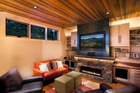 Rustic Electric Fireplace Family Room With Built In Storage Stone Surround Wood Ceiling