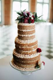 Rustic Wedding Cakes Naked With Cream Decorared Red Roses Bekah Wriedt