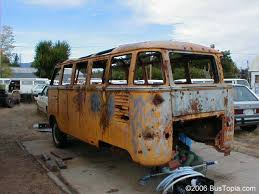 VW 23 Window Samba Bus In Junk Yard Shot Full Of Bullet Holes