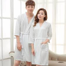 Lovers Kimono Waffle Bath Robe Cotton Bathrobe Women Men Dressing Gown Bride Wedding Bridesmaid Robes Night