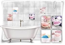 fliesen aufkleber spa wellness bade salz pastell rosa blau seife bad wc deko