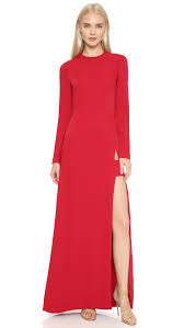 jill jill stuart long sleeve maxi dress with slit black in red