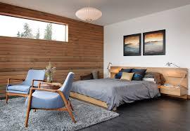 midcentury modern bedroom Bedroom Industrial with area rug artwork