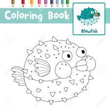 Coloriage Des Animaux Blowfish Pour La Feuille De Travail éducative
