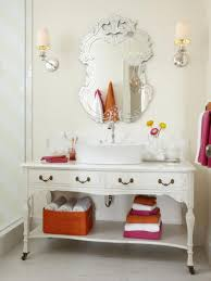 Distressed Cherry French Country Bathroom Vanity by Silver Leaf Beveled Rectangle Framed Contemporary Wall Mirror