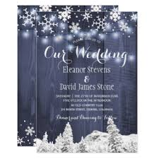 Snowflakes Barn Wood Winter Wonderland Wedding Card