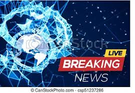 Breaking News Live Banner On Blue Glowing Plexus Structure Background With Earth Planet World Abstract Geometric Network Connecting Lines And