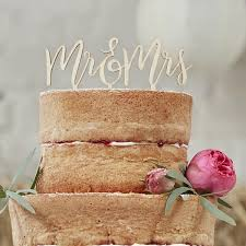 Picture Of Wooden Mr Mrs Cake Topper