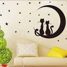 chambre pour amants mignon noir wall sticker vinyle lune étoiles amant mur