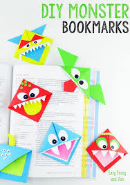 Easy Paper Craft Ideas For Kids Monster Corner Bookmarks Colorful Color Crafts Crafty