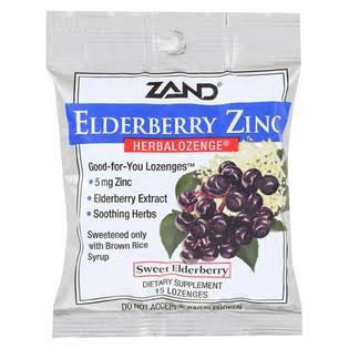 Zand Herbalozenge Lozenges, Elderberry Zinc, Black Elderberry Flavor - 15 lozenges
