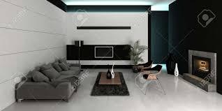 modernes design schwarz weiß stil wohnzimmer innenraum mit grauen gegen weiße wand mit kamin 3d rendering