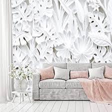murimage fototapete blumen 3d weiß 366 x 254 cm inklusive kleister pflanzen tapete stuck relief gips muster schlafzimmer wohnzimmer wohnung