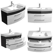 badezimmer waschtisch mit unterschrank rimao 100 hochglanz weiß anthr