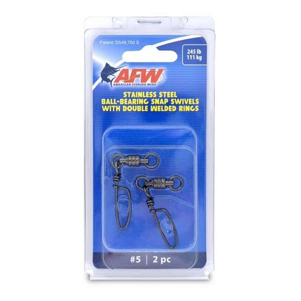 AFW Stainless Steel Ball Bearing Snap Swivels - #5, Black, 245lbs