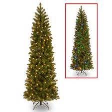 Downswept Douglas Pencil Slim Fir Artificial Christmas Tree With Dual Color LED Lights