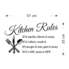 Amazon Dnven 6040cm Kitchen Rules Knives Forks Spoons Wall Stickers Removable Waterproof Home Art Decoration Mural Decal Decor Room