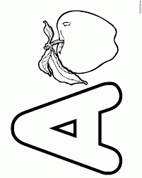 Coloring Page Letter A Apple