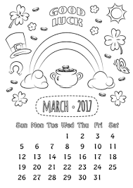 Click To See Printable Version Of March 2017 Calendar Coloring Page