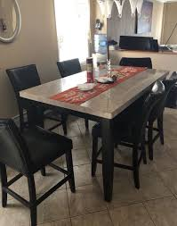 Beige Marble Dining Table Set For Sale In Queens NY