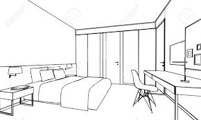 skizze zeichnung perspektive eines inter raum umreißen