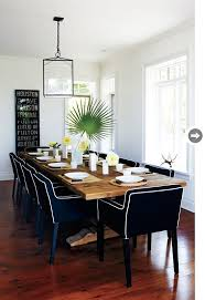 Reclaimed Wood Dining Table Paired With Slipcovered Black Canvas Chairs In White Piping Love The Contrast
