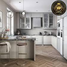 astory moderne landhausküche l form küche mit theke massivholz hellgrau