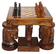 Horse Head Chess Table And Chairs - Hand Carved One Of A ...
