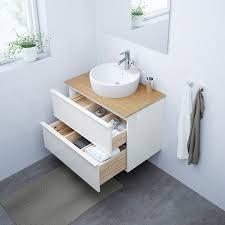 godmorgon tolken törnviken waschbschr aufsatzwaschb 45 hochglanz weiß bambus dalskär mischbatterie 82x49x74 cm
