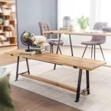 esszimmerbank mango massivholz 180x47x42 cm holzbank massiv industrial design küchenbank essbank groß esstischbank küche ohne lehne möbel und