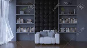 3d rendering wohnzimmer viele dekorationsgegenstände platz auf dem regal in der betonwand gebaut weißes sofa und dunklen schreibtischle auf