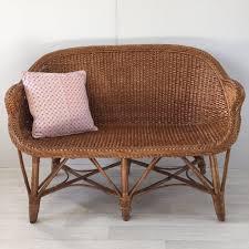 livraison canapé vintage rattan wicker settee sofa 2 seater banquette canapé