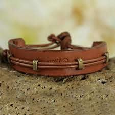 men u0027s hand crafted leather wristband bracelet from africa stand