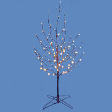 Vickerman Twig Christmas Trees by 4 U0027 Lighted Led Brown Artificial Christmas Twig Tree Pure White