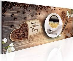 decomonkey bilder kaffee küche 135x45 cm 1 teilig leinwandbilder bild auf leinwand vlies wandbild kunstdruck wanddeko wand wohnzimmer