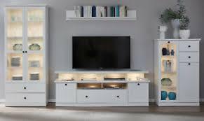 details zu wohnwand weiß landhaus wohnzimmer schrankwand 370 cm vitrine beleuchtung baxter