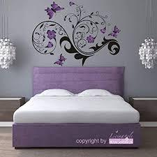 wandtattoo wandaufkleber ranke yannic lila schwarz schlafzimmer wohnzimmer 90 cm x 66 cm