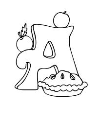 Letter A Coloring Pages Apple Pie