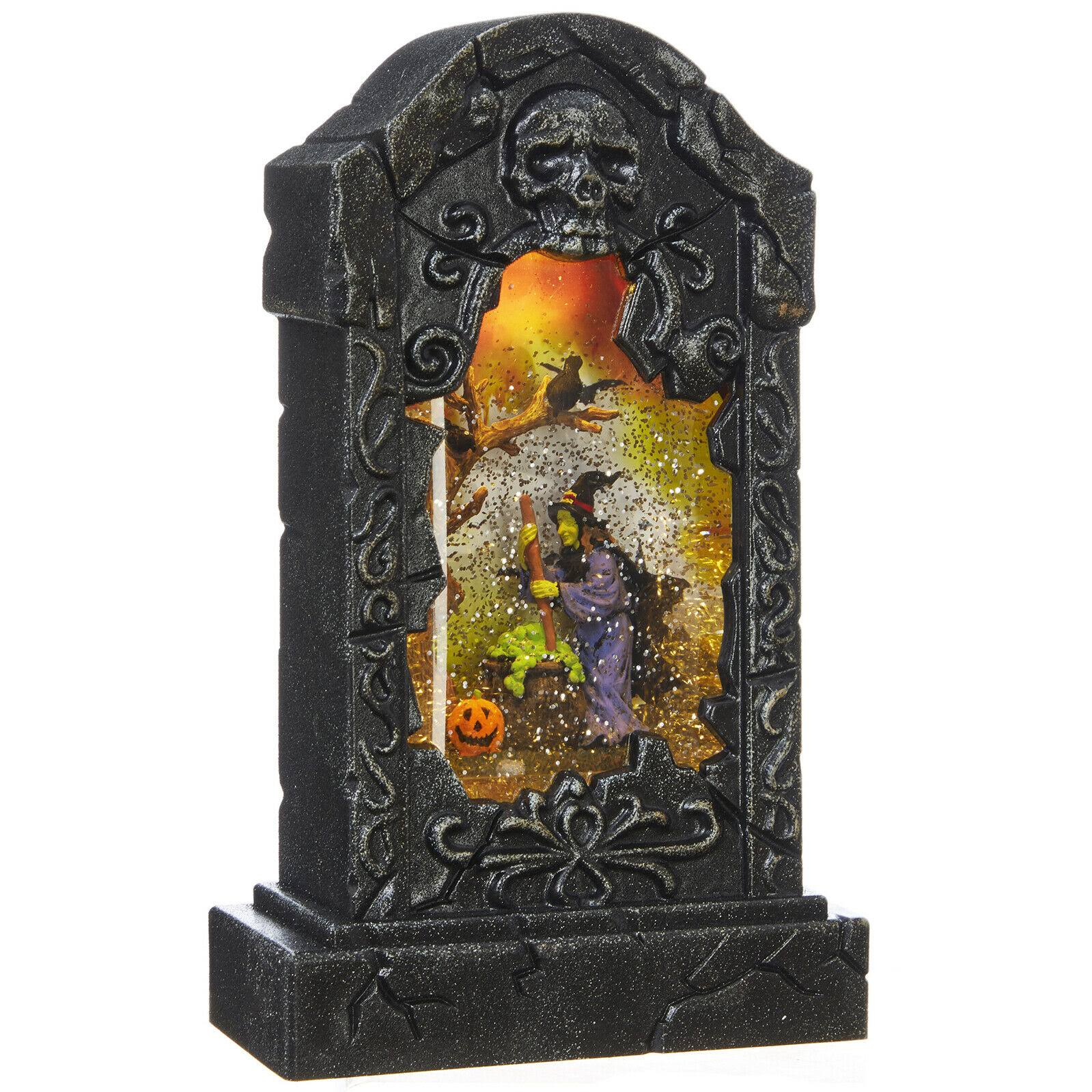Raz Imports Halloween Lighted Tombstone Witch Lantern with Swirling Glitter - 10.5""