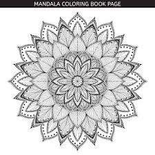 Coloring Book Pages Indian Antistress Medallion White Background Black Outline