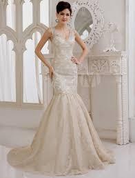 champagne lace mermaid wedding dress naf dresses