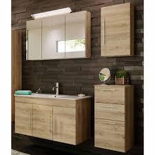 badezimmer set in eiche hell mit spiegelschrank 100cm