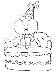 Elmo Blows Candles On Birthday Cake Coloring Page