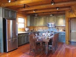 bellissimoandbella log cabin kitchen green cabinets